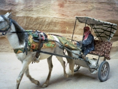 A horse and carriage storm pass us in the siq