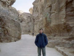 Robby after having survived his crazy horse ride...very happy to have dismounted in order to walk the rest of the siq by foot!
