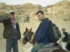Robby on his horse for a wild ride down Petra's long siq (the main entrance to the ancient city of Petra)