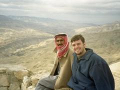 Robby poses next to a friendly Jordanian at Wadi-Al-Mujib, a canyon stretching over 1 km deep
