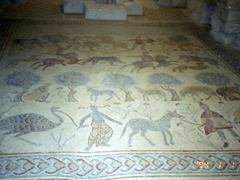 Early Byzantine mosaic in the old baptistery of the basilica, depicting pastoral and hunting scenes;  Mount Nebo
