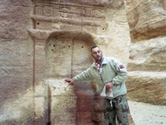 """The Nabataeans represented their deities as unadorned rectangular stone blocks called """"betyls"""". Mohannad shows us this rock cut shrine found in the Siq"""