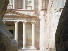 Camels seen between rocks in Petra