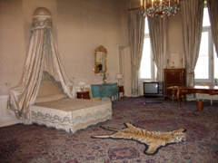 Bedroom of the last Shah, Mohammad Reza Pahlavi, complete with tiger skin; Niavaran Palace in Tehran