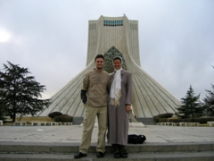 In front of the 45 meter tall Freedom Monument, Tehran