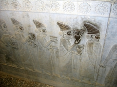 Bas-reliefs depicting gift bearing envoys; eastern staircase of Apadana Palace; Persepolis