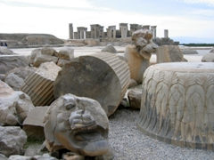 Ruins of Persepolis, the ceremonial capital of the Achaemenid Empire, looted by Alexander the Great's men in 330 BC