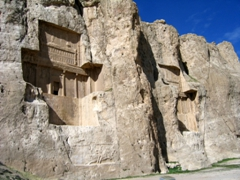 View of 2 of the 4 cross shaped tombs of Achaemenid Kings carved out of the rock face at Naqsh-e Rustam
