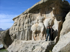 Posing at Naqsh-e Rajab, a rock tomb complex near Persepolis
