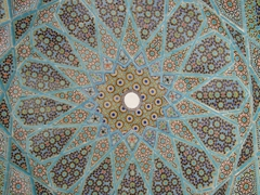 Beautiful tile mosaic on a mosque dome; Isfahan