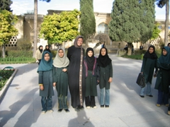 Becky with Iranian schoolgirls, Hafez's Tomb, Shiraz