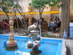 View of the teahouse courtyard at Hafez Tomb, Shiraz
