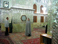 Becky has to cover up from head to toe in this funny outfit to visit the Mausoleum of Sayyed Mir Mohammed, Shiraz