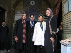 Friendly Iranian women befriend Becky at Mausoleum of Sayyed Mir Mohammed, Shiraz