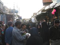 Street bazaar scene, Kerman