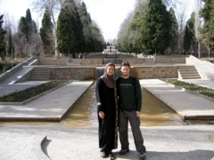 "Posing at Shazdeh garden (""Prince's Garden""), a historical Persian garden on the outskirts of Mahan"