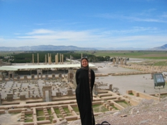 Becky in front of Persepolis ruins