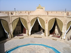 A sight for sore eyes! A caravanserai haven, in the middle of the desert