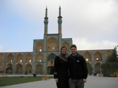 Standing in front of the twin minarets of the Amir Chakmagh Complex, Yazd