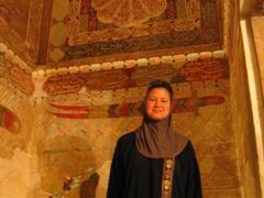 Becky inside the Shah Nematollah Vali Mausoleum, Mahan