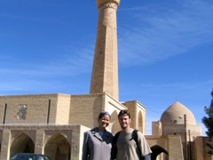 Posing in front of Jame Mosque, one of the oldest mosques in Iran (built in the 8th Century A.D.); Naein