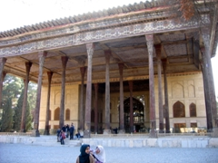 View of Chehel Sotoun (40 Column) Palace. There are only 20 columns on the front pavilion, but when seen reflected in the fountain, the columns appear to have doubled; Isfahan