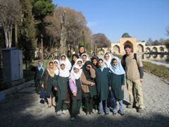 Posing with Iranian schoolgirls at Chehel Sotoun (40 Column) palace, Isfahan