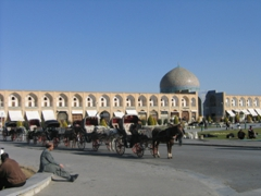 Horse carriages lined up in a row at Naqsh-e Jahan (Imam Square); Isfahan