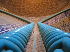 Intricate turquoise columns, Imam Mosque, Isfahan