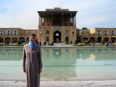 Becky in front of Ali Qapu Palace, Imam Square, Isfahan