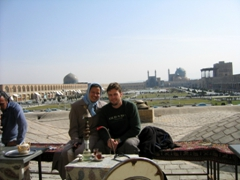 Enjoying tea and a smoke while overlooking Imam Square, Isfahan