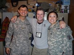 It's an Iraq family reunion! Tom, Robby & Fran hanging out in our trailer; Camp Victory