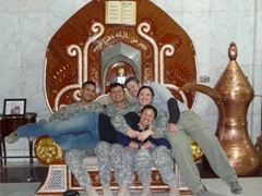 Joe, Tom, Robby, Fran & Becky strike a pose on Saddam's throne (a present from Yasser Arafat), an obligatory must when visiting Al Faw Palace
