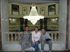 Tom, Becky & Robby posing in front of Iraq's largest chandelier; Al Faw Palace