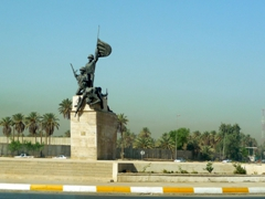 14th July Circle statue (built in honor of the 14 July 1958 military coup led by Iraqi General Abdul Karim Qassim to overthrow the existing monarchy, eventually leading to the Republic of Iraq); International Zone in Baghdad