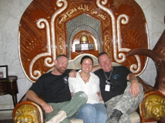 "Becky poses with Max Martini (MSG Mack Gerhardt) and Robert Patrick (COL Tom Ryan) from ""The Unit""; Camp Victory"