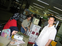 Becky buying Duty Free items; Baghdad International Airport