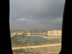 View of Al Faw Palace as seen through a helicopter window
