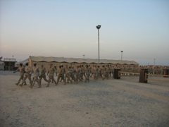 Inbound soldiers getting ready to fly to Iraq; Ali Al Salem Air Base, Kuwait