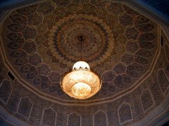 A chandelier hangs from this dome inside Saddam's Al Faw Palace