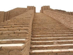 "View of the massive step pyramid known as the ""Ziggurat of Ur"", the best preserved in all of Iraq and Iran"