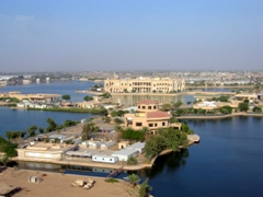 Artificial lakes surrounding Saddam's private hunting reservation