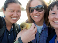 Becky, Tish & Brandy playing with baby geese; Camp Victory