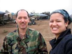 Dave & Becky checking out the MiG-23 graveyard
