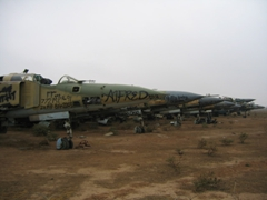 This is where the ill fated Iraqi airforce goes to die; MiG-23 graveyard, Balad