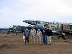 The SPAWAR gang at the Iraqi airforce MiG-23 graveyard; Balad