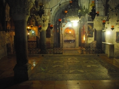 One of the many rooms inside the Church of the Holy Sepulchre, the site also known as Calvary or Golgotha; Jerusalem