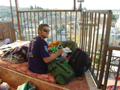 Robby sorting out our bags on the rooftop of Citadel Youth Hostel, where we slept on the roof for 50 NIS. It gets surprisingly chilly at night in Jerusalem so be prepared with some warm clothes/sleeping gear!