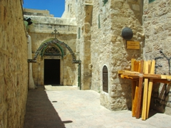 "View of the IX Station of the Cross on Via Dolorosa (""way of suffering"") where Jesus took his third stumble beneath the weight of the cross; Jerusalem"