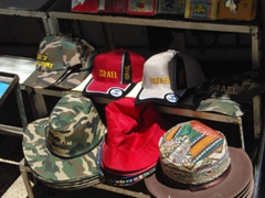 Israel hats for sale (vital for those hot, sunny days!); Jerusalem